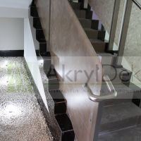 Resin staircase railing panels with brown leaves