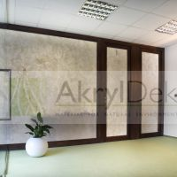 Transparent partition with stone design
