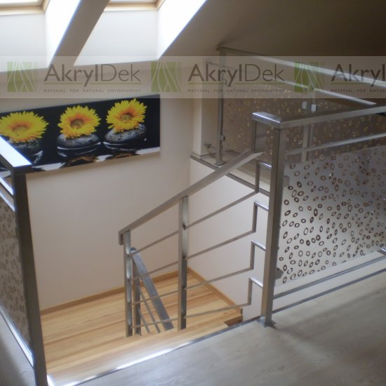 Staircase railing panels with flower or stone pattern in resin